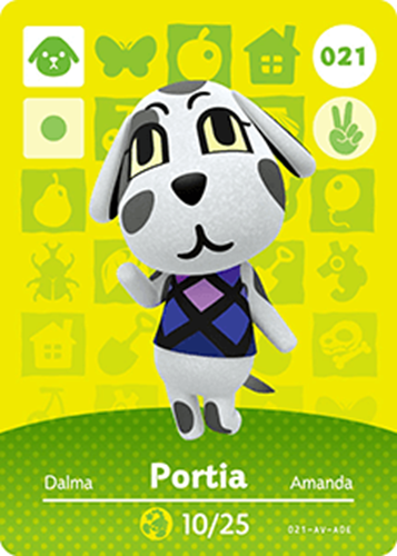 Amiibo Cards Animal Crossing Series 1 Portia Icon