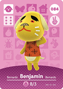 Amiibo Cards Animal Crossing Series 1 Benjamin